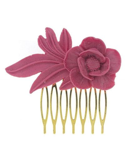 Peinecillo de flamenca de resina color frambuesa