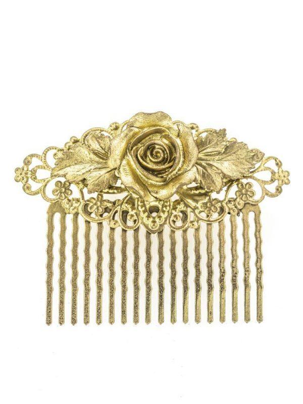 Peinecillo de flamenca de resina color oro