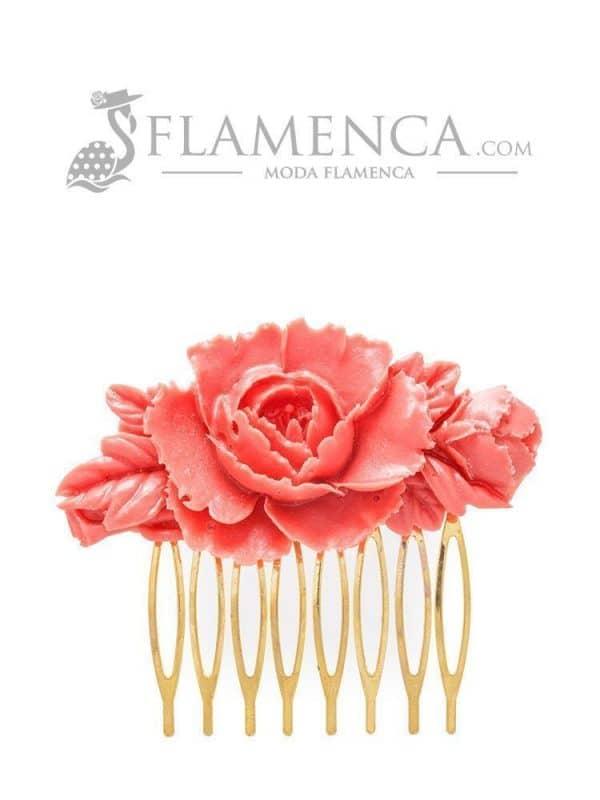 Peinecillo de flamenca de resina coral