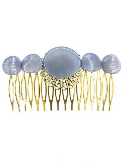 Peinecillo de flamenca de resina cristal azul ducado