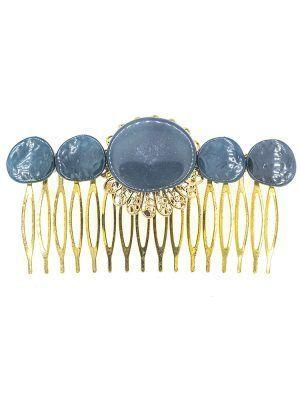 Peinecillo de flamenca de resina cristal azul zafiro