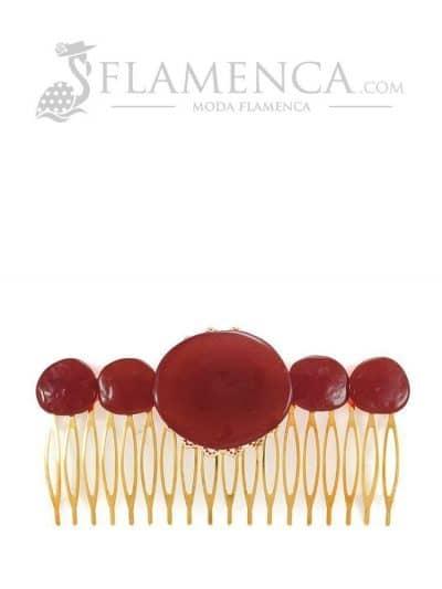 Peinecillo de flamenca de resina cristal coral