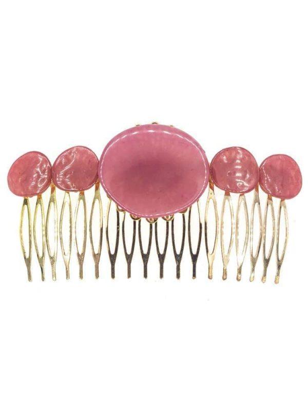 Peinecillo de flamenca de resina cristal frambuesa