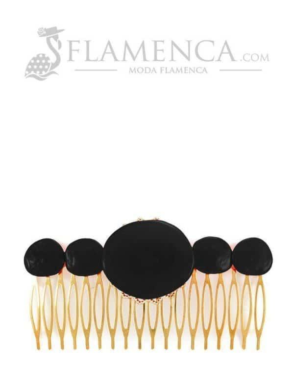 Peinecillo de flamenca de resina cristal negro