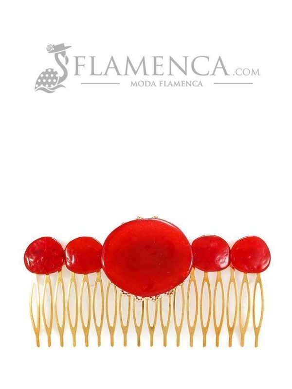 Peinecillo de flamenca de resina cristal rojo