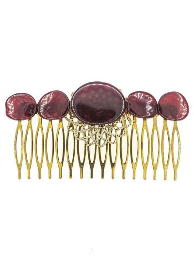 Peinecillo de flamenca de resina cristal rojo oscuro
