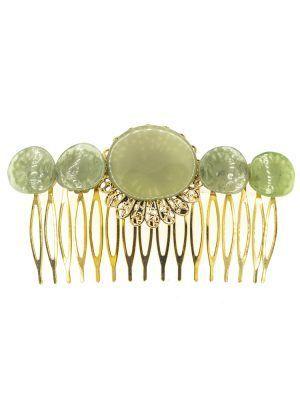 Peinecillo de flamenca de resina cristal verde antiguo