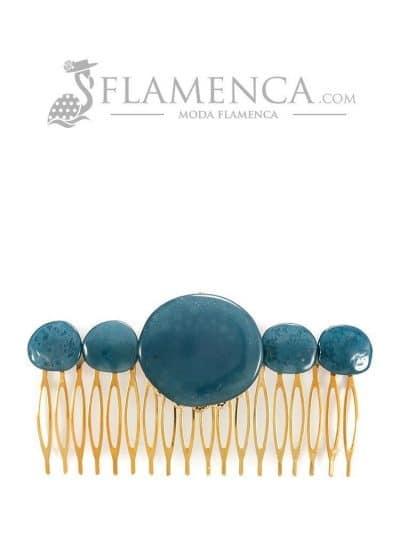 Peinecillo de flamenca de resina cristal zafiro