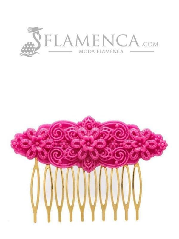 Peinecillo de flamenca de resina frambuesa
