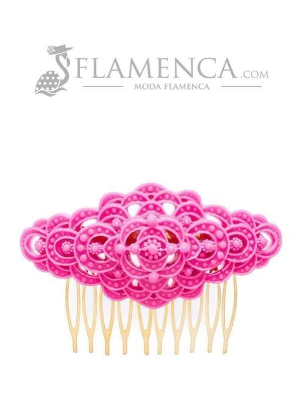 Peinecillo de flamenca de resina fucsia