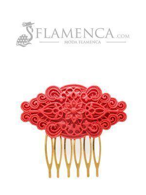 Peinecillo de flamenca de resina granate