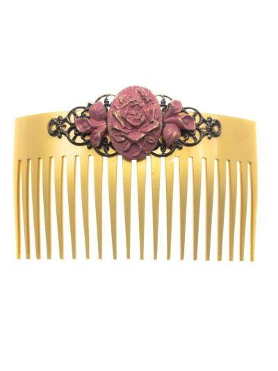 Peinecillo de flamenca de resina maquillaje con reflejos dorados