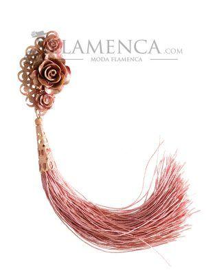 Peinecillo de flamenca de resina maquillaje con reflejos oro