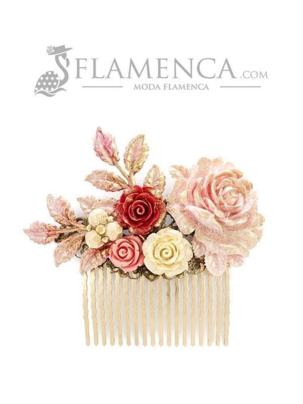 Peinecillo de flamenca de resina maquillaje degradado con reflejos oro