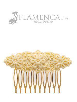 Peinecillo de flamenca de resina marfil