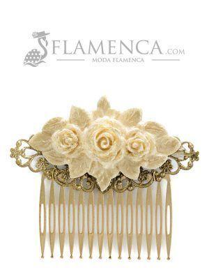 Peinecillo de flamenca de resina marfil con reflejos oro