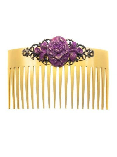 Purple resin flamenco comb with golden highlights