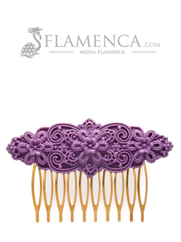 Purple resin flamingo comb