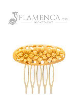 Peinecillo de flamenca de resina mostaza