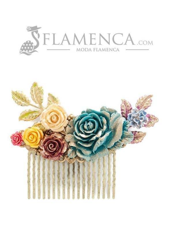 Peinecillo de flamenca de resina multicolor