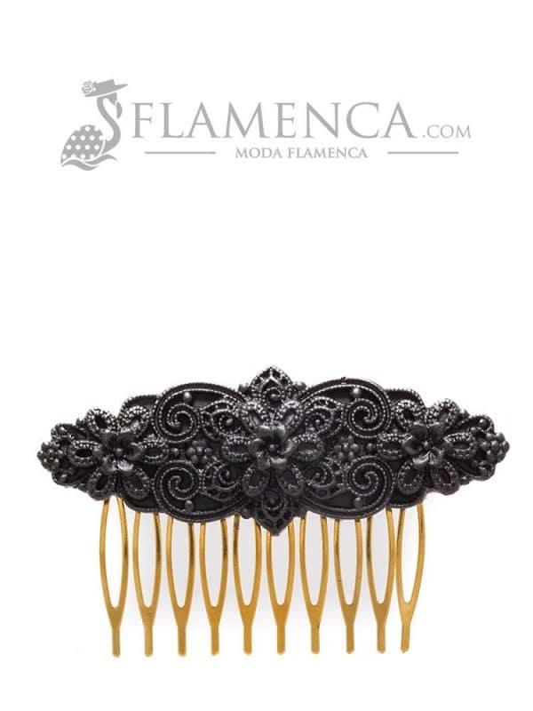 Peinecillo de flamenca de resina negro