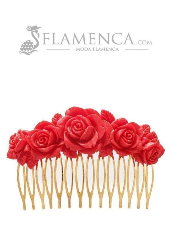 Peinecillo de flamenca de resina rojo