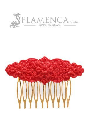 Flamenco red resin comb