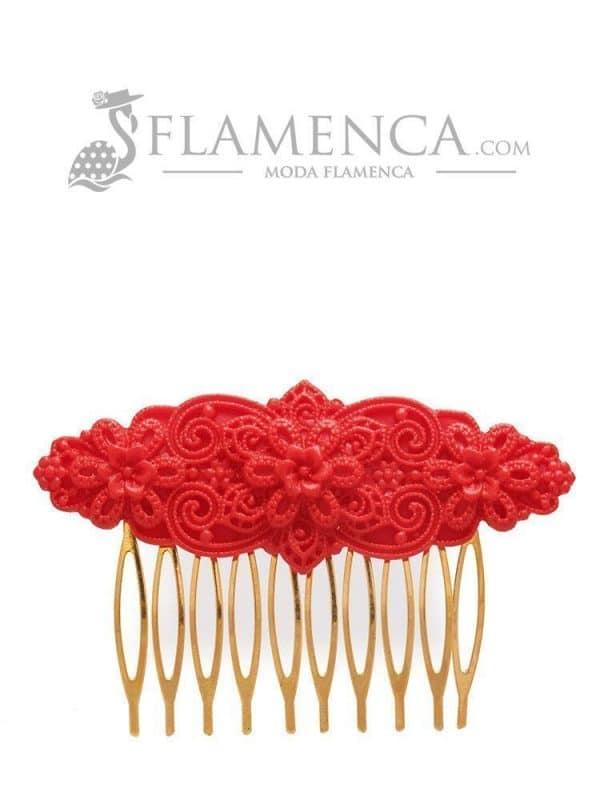 Flamenco red resin comb