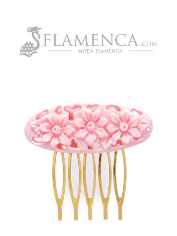 Peinecillo de flamenca de resina rosa bebé