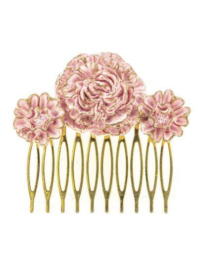 Peinecillo de flamenca de resina rosa con reflejos dorados
