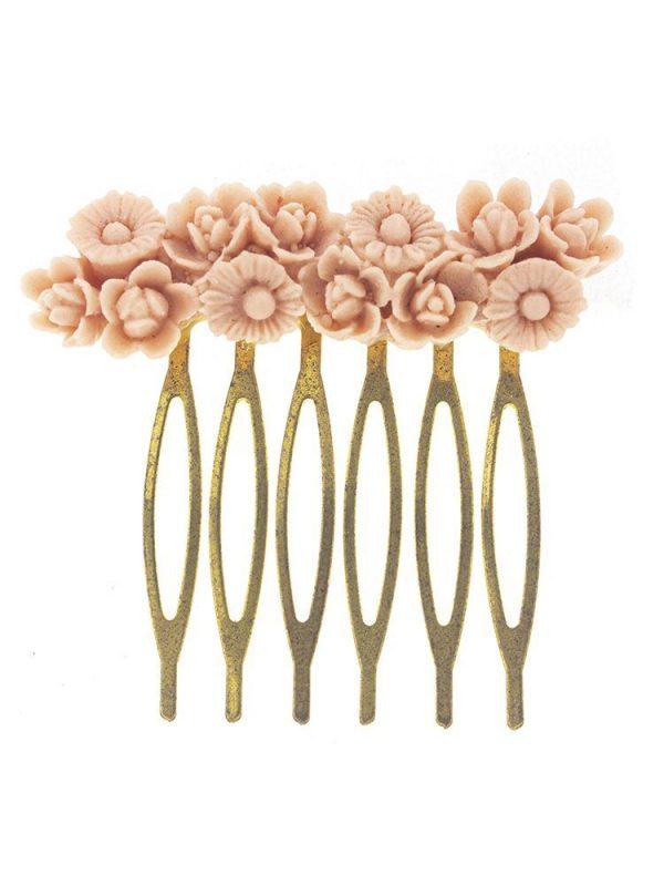 Peinecillo de flamenca de resina rosa palo