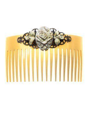 Peinecillo de flamenca de resina tono marfil con reflejos dorados
