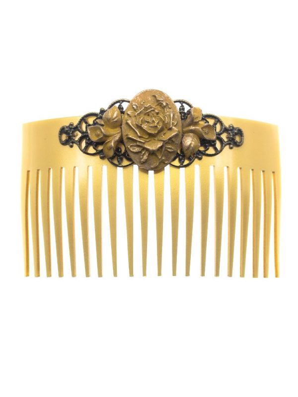 Flamenca resin mustard comb with golden highlights