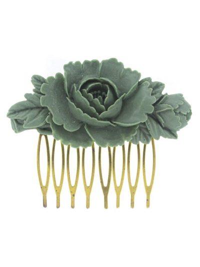 Peinecillo de flamenca de resina verde caki