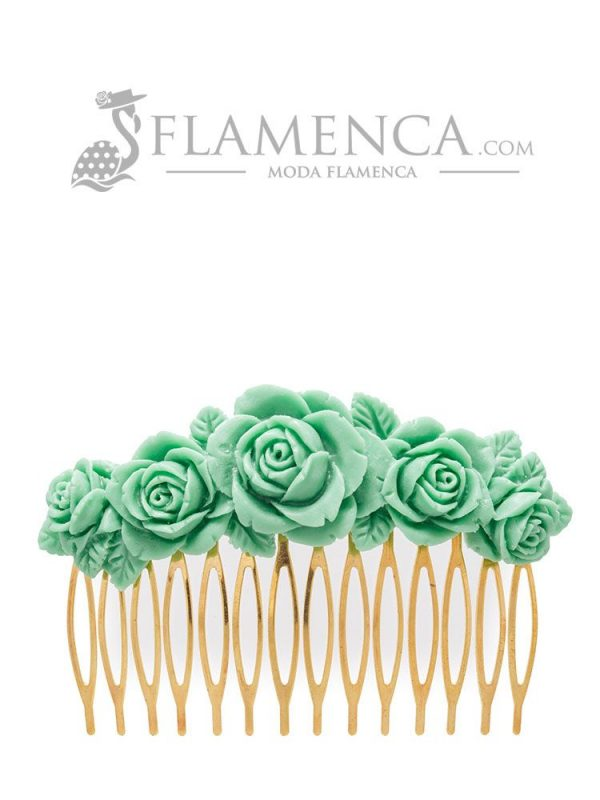Peinecillo de flamenca de resina verde pastel