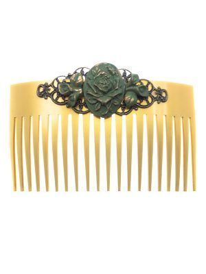 Water green resin flamingo comb with golden highlights