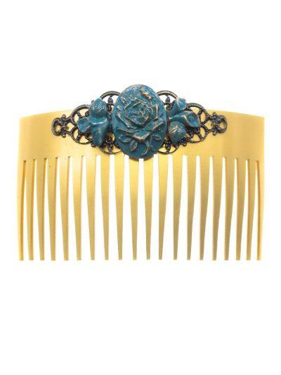 Peinecillo de flamenca flor de resina azul cyan con reflejos dorados