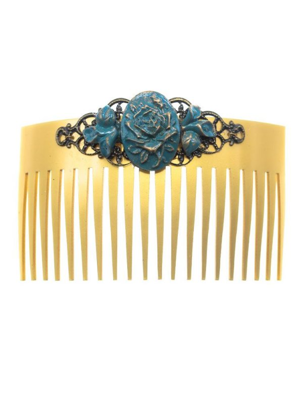 Flamingo comb cyan blue resin flower with golden highlights