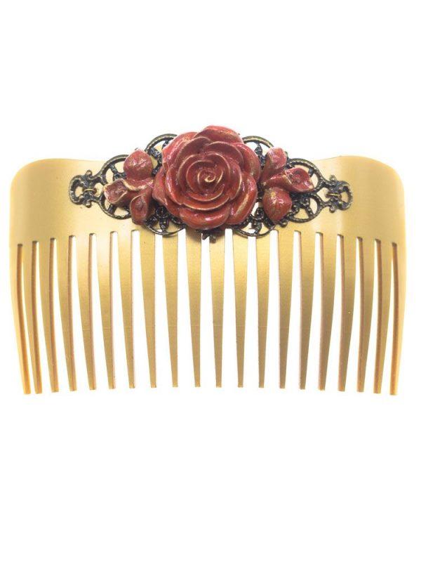 Peinecillo de flamenca flor de resina coral y fornitura metálica dorada