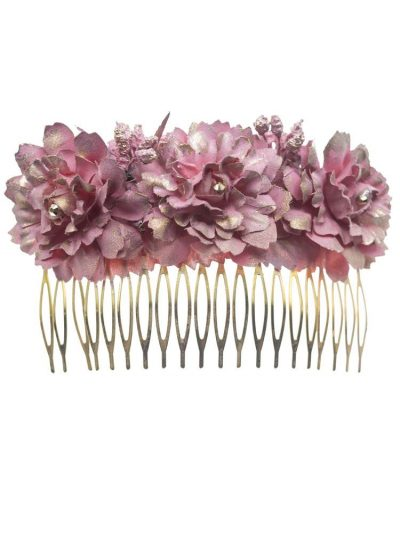Large flamenco comb with pink baby cloth flowers with golden reflection
