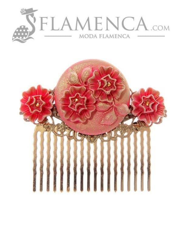 Peinecillo de flamenca fresa con reflejos oro