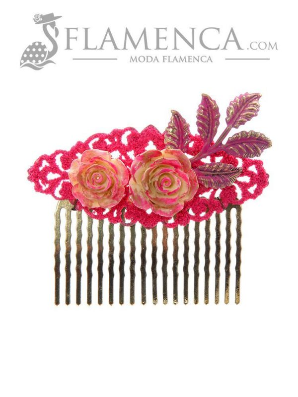 Fuchsia flamenco comb with gold highlights