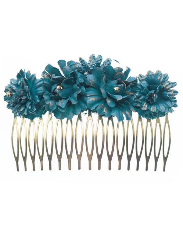 Peinecillo de flamenca grande con flores de tela azul ducado con reflejo dorado