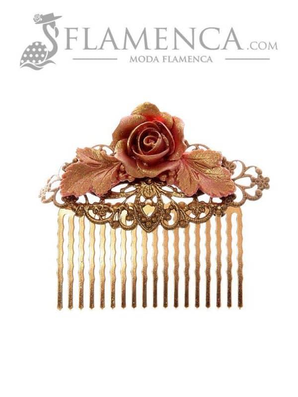 Peinecillo de flamenca maquillaje con reflejos oro