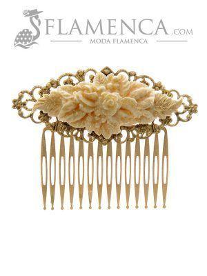 Peinecillo de flamenca marfil con reflejos oro
