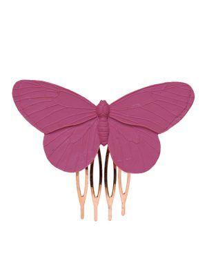 Peinecillo de flamenca mariposa de resina color fresa