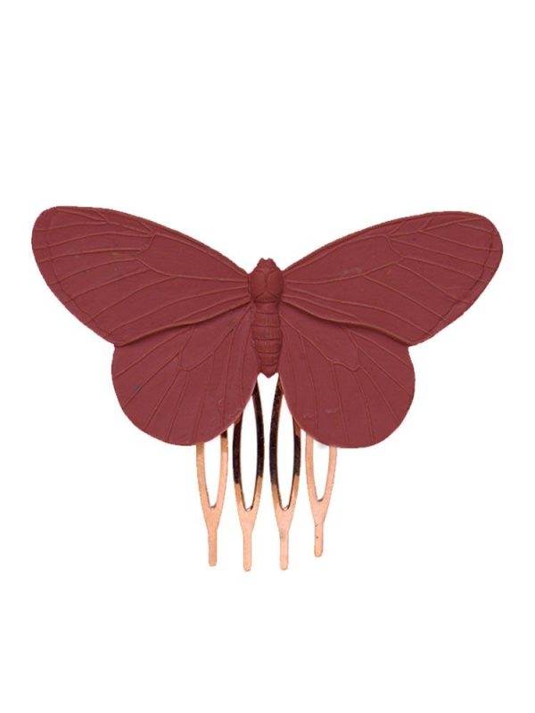 Burgundy resin butterfly flamingo comb