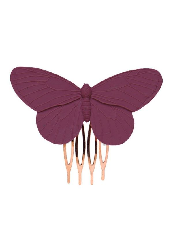 Peinecillo de flamenca mariposa de resina en color malva antiguo
