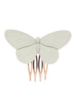Peinecillo de flamenca mariposa de resina en color marfil