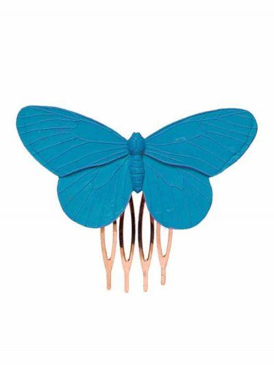 Peinecillo de flamenca mariposa de resina en color azul ducado